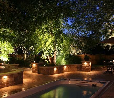 outdoor pool area landscape lighting project Victoria BC
