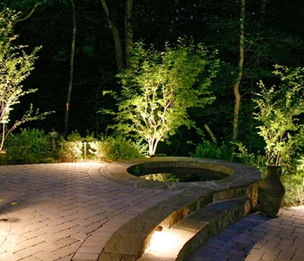 outdoor hot tub landscape lighting project Victoria BC