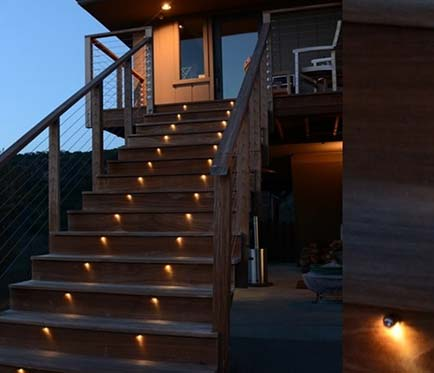 backyard stairs landscape lighting project Victoria BC