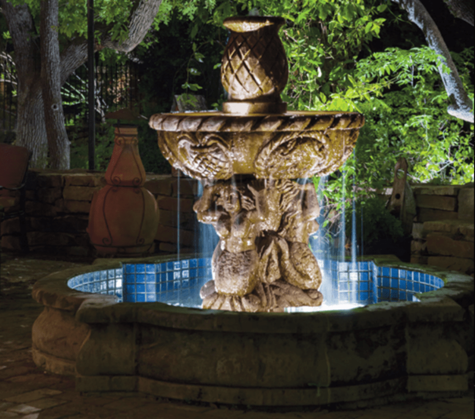 water fountain landscape lighting project Victoria BC