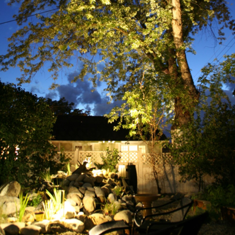 landscape lighting project for backyard in Victoria BC