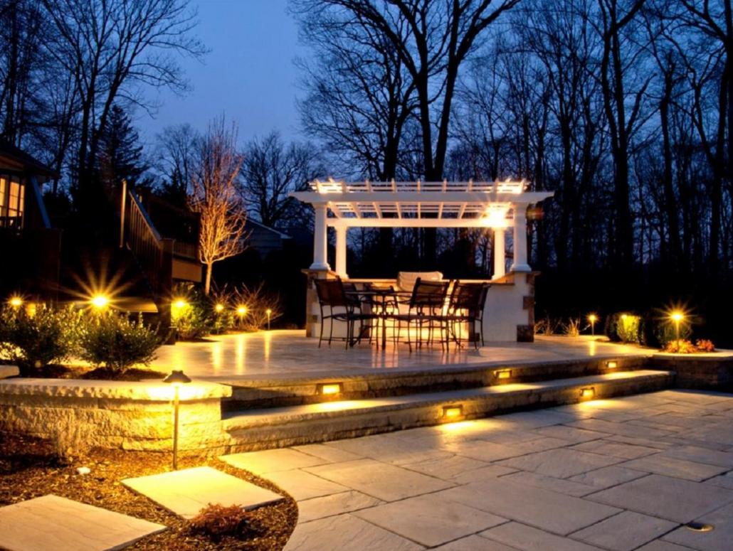 backyard landscape lighting project Victoria BC